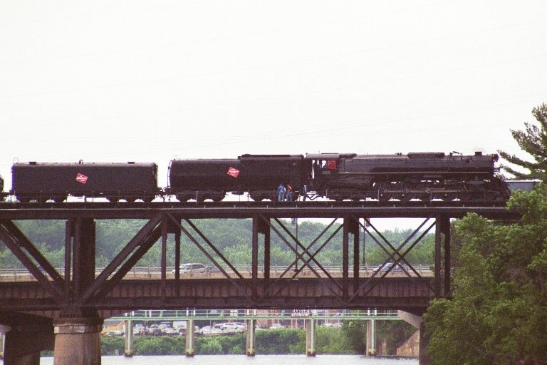 Milwaukee Road 261 crossing the Wisconsin River at Wisconsin Dells, WI